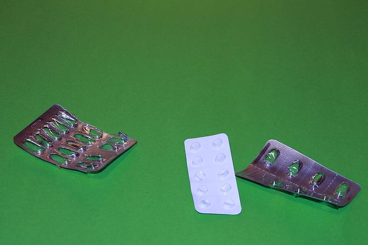 tabletten, blisterverpakking, ziekte, geneeskunde, Bekijk verpakking, medische, Helen