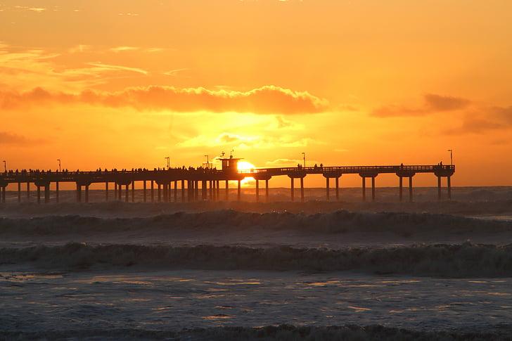 pôr do sol, Califórnia, oceano, paisagem, praia, ondas, céu
