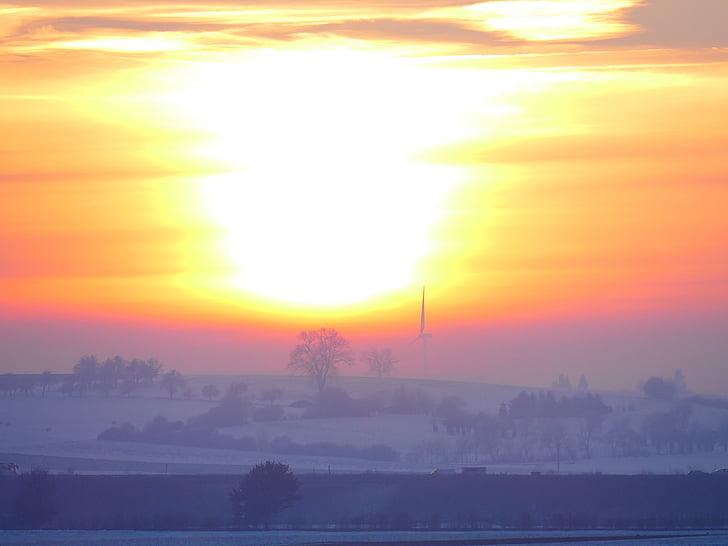 vinter humör, solnedgång, vinter, motljus, abendstimmung, vintrig, kalla