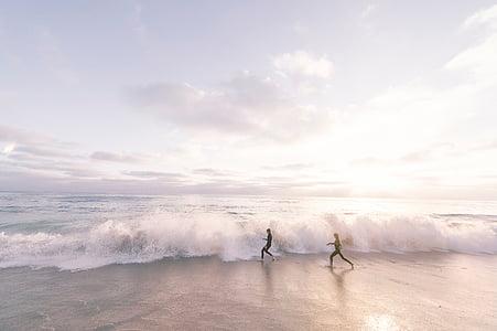 platja, natura, oceà, a l'exterior, persones, sorra, Mar