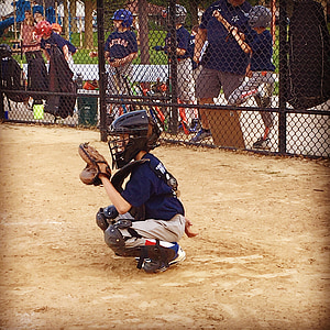 baseball, catcher, youth sports, field, activity