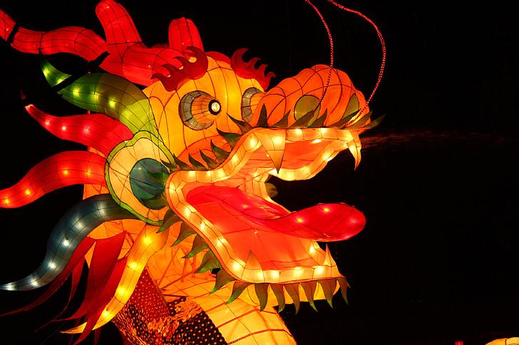 fenjer festivala, zmaj, fenjer festivala, tradicionalne narodne, dekoracija