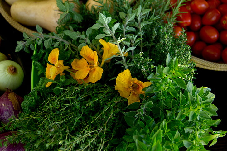 Caputxina, farigola, herbes, vegetals, aliments, carbassa, frescor