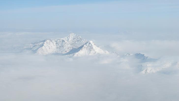 snijeg na brdu, iz zraka, Žuti zmaj, Nema ljudi, priroda, niske temperature, dan