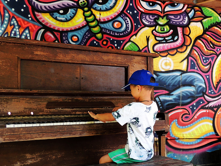 piano, boy, child, playing, happy, sitting, entertainment