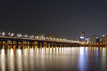 han river, night view, night photography, seoul, bridge, night, cityscape