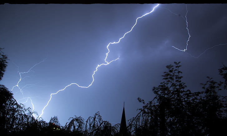 fotos, llamp, nit, temps, Llamp, la tempesta, tempesta, energia a la natura