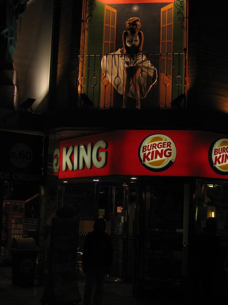 Fast food, ristorante, Re di hamburger, attrazione, Marilyn monroe, Statua, Spagna