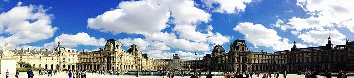 Будинки, міський пейзаж, Le Louvre, Старий, Панорама, Париж, притягнення туриста