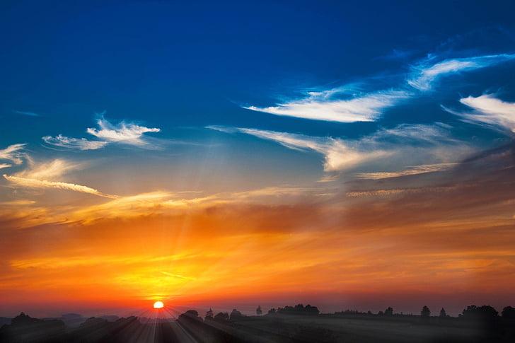 pôr do sol, sol, abendstimmung, pôr do sol, raio de sol, arrebol, nuvens