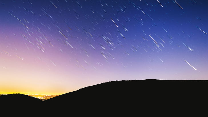 silhuet, bjerge, Meteor, brusebad, Sky, Star, stjerner