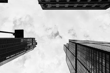 budynki, wieże, wznosi się wysoko, Architektura, Miasto, Urban, niebo