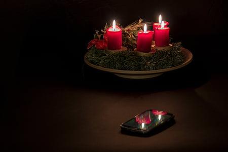 Advent, Advent pärg, jõulude ajal, mobiiltelefoni, peegeldamine, detsember