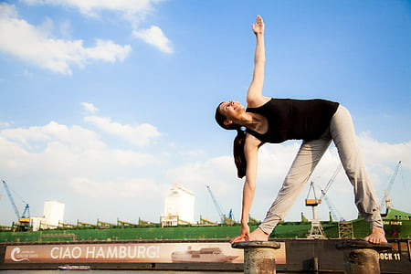 yoga, port, hamburg, sport, outdoors, exercising, people