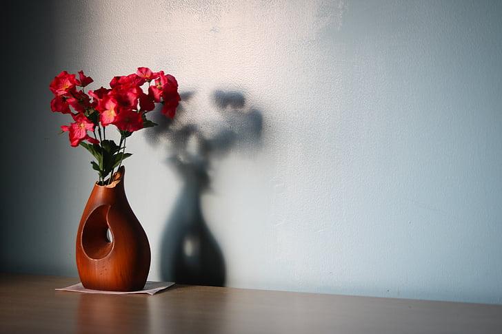 bloem, houten, vaas, schaduw, tabel, interieur, rood