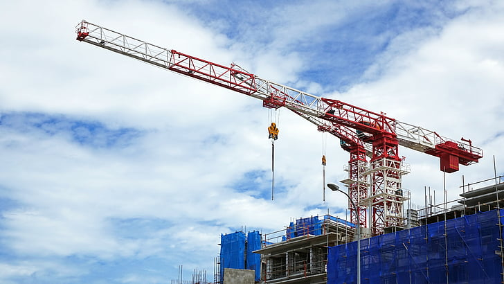 construction, site, cranes, building construction, architecture, blue, building