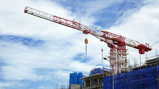 Ehitus, saidi, kraanad, hoone ehitus, arhitektuur, sinine, hoone