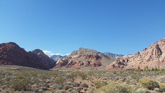 roques vermelles, postres, Las vegas, cel, vermell, Roca, muntanya