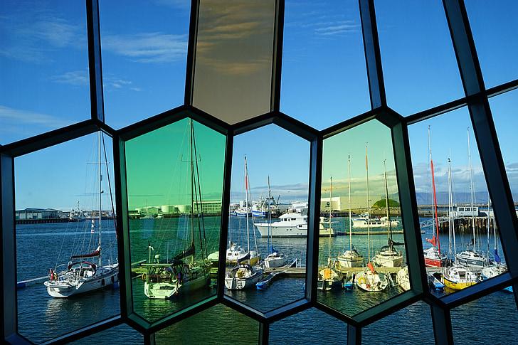 Harpa, colors, vidre, vidres, finestra de vidre, mosaic de vidre, transparents