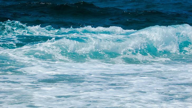 hullám, Beach, spray, hab, természet, energia, teljesítmény