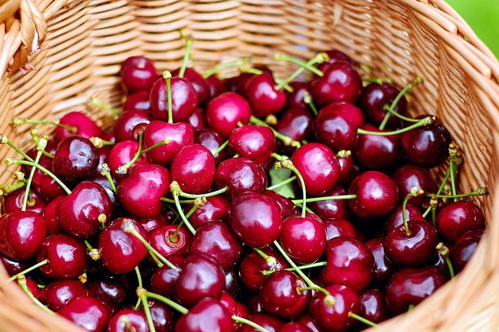 vyšnios, Saldžiosios vyšnios, raudona, vaisių, sveikas, krepšys, maisto