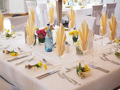 table de mariage, salle de bal, Hall, décoration de mariage, mariage, festivité, décoration