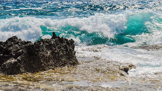 steinete kysten, bølge, Smashing, skum, spray, sjøen, natur