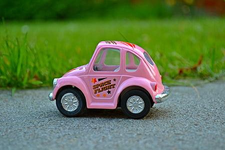 samochód, miniaturowe, różowy, miniaturowy samochód, Natura, Zielona trawa, małe