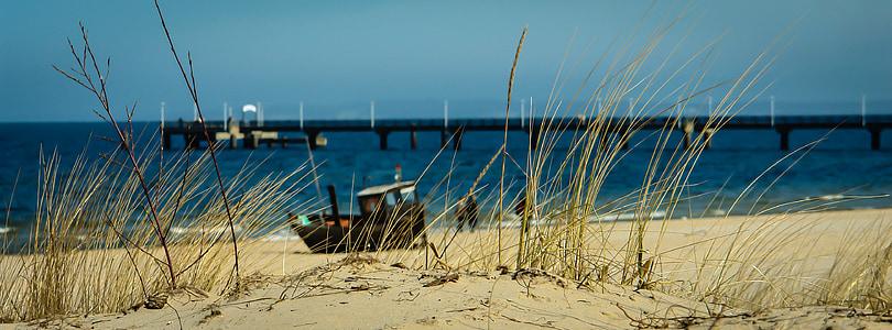 platja, vaixell de pesca, platja de sorra, Mar Bàltic, dunes, vacances, Mar