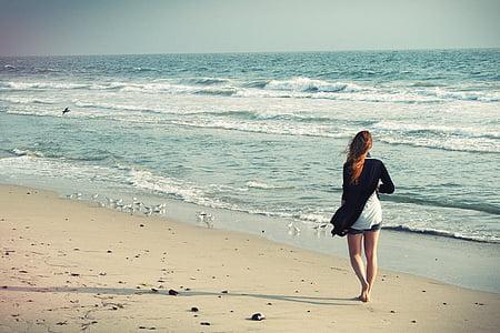 beach woman, walking away, woman walking away, woman, summer, ocean, outdoors