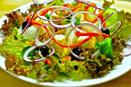 샐러드, 건강 한, 먹으십시오, 비타민, 채식, 그린, 여름 샐러드