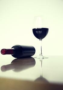 veini, pudel, klaas, sees, punane, jook, jook