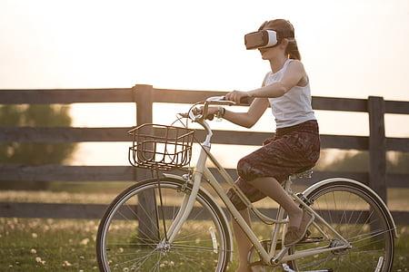obogatena resničnost, izposoja, kolo, otrok, kolesar, ograje, zabavno