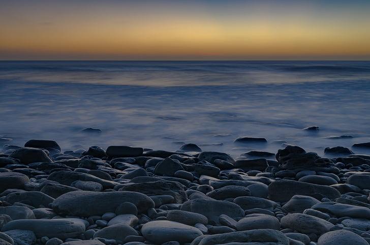 pebbles, sea, sunset, calm, stone, ocean, zen