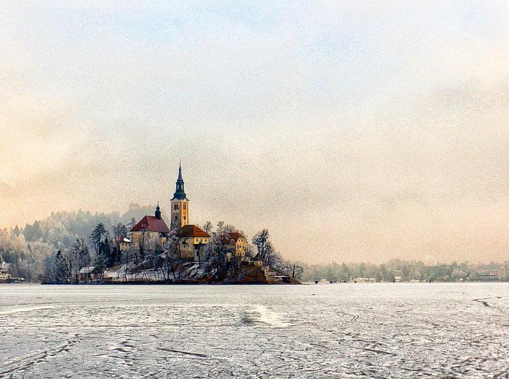 church, island, ice, bled, slovenia, water, lake