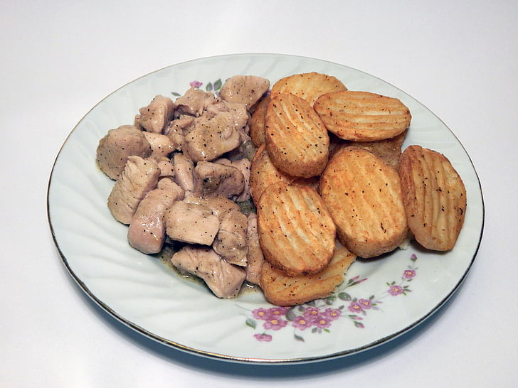 aliments, pollastre, patates, àpat, sopar, placa, dinar