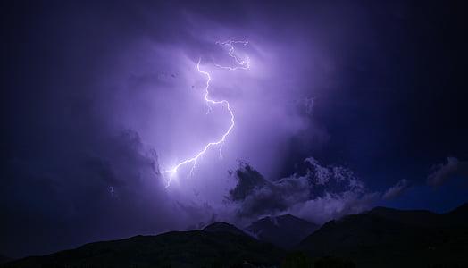 tamsus, Žaibas, kalnų, Gamta, lauke, siluetas, dangus