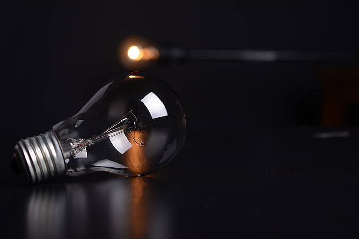 bulb, lights, macro, black background, night, studio shot, no people