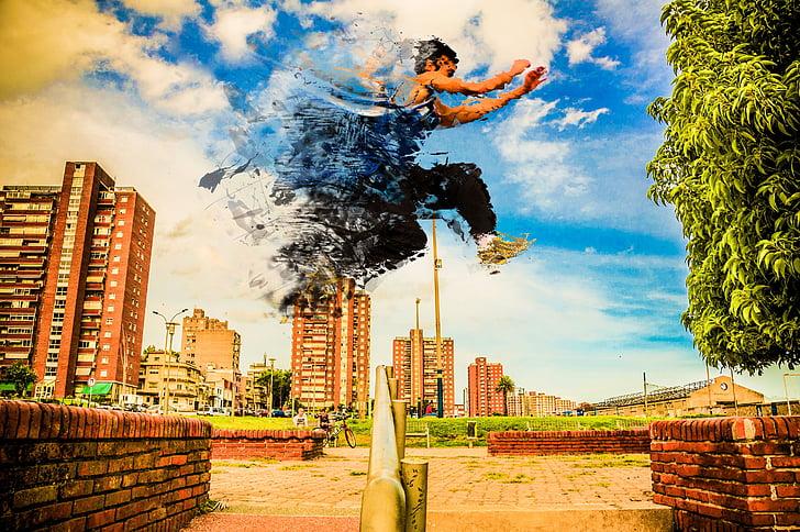 desintegració, parkour, urbà, cursa, salt, paisatge urbà, ciutat