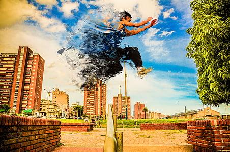 disintegration, parkour, urban, race, jump, cityscape, city