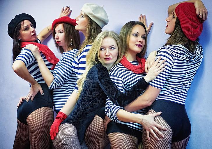 França, nenes, model de, Beret, veure, llavis, Retrat