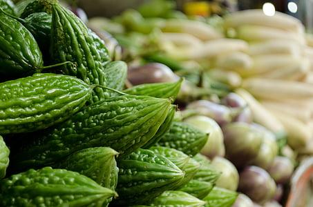 gorka dinja, squash, tikvica, povrća, Azija, poljoprivrednici na tržištu, svježe