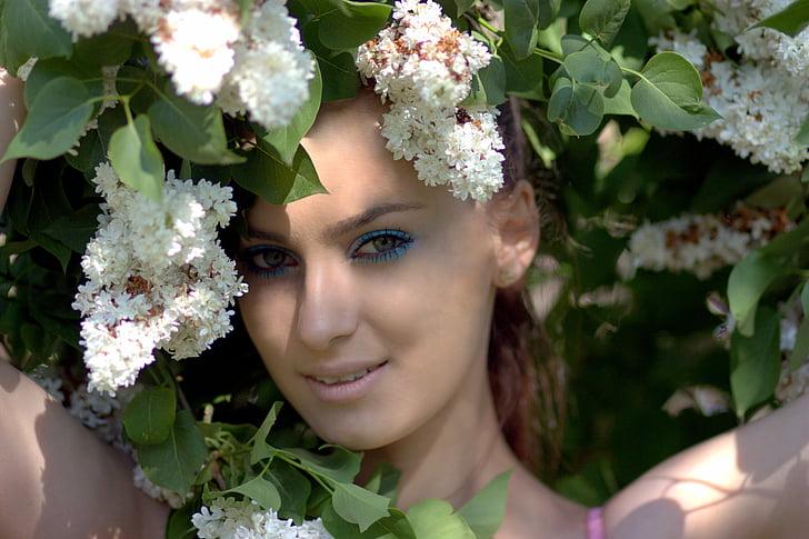 Dziewczyna, liliowy, kwiat, biały, piękno, portret, wiosna
