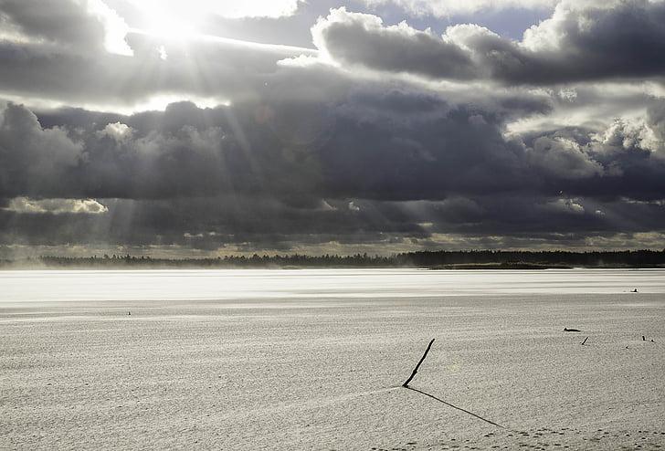 nature, winter, landscape, cold, sun, winter landscape, sea
