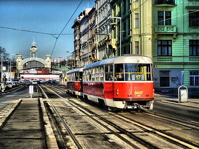 rail, prague, electro train, czech, europe, road, urban