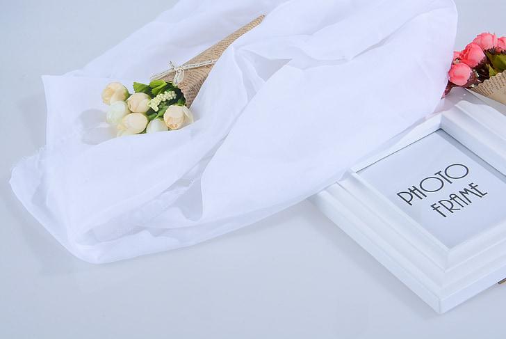 malá květina, bílá, Foto rámeček