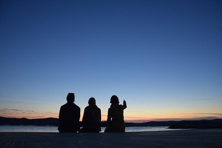 posta de sol, silueta, paisatge, sol ponent, Croàcia