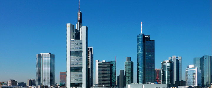 Panorama, mrakodrap, mrakodrapy, Architektura, Frankfurt nad Mohanem, budova, moderní