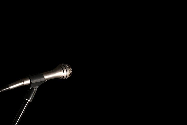 mikrofon, mic stativ, svart, svart bakgrunn, enkelt objekt, Studio skudd, kunst kultur og underholdning