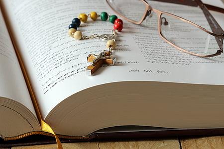 Rosari, Bíblia, pregària, ulleres, religió, fe, Catòlica